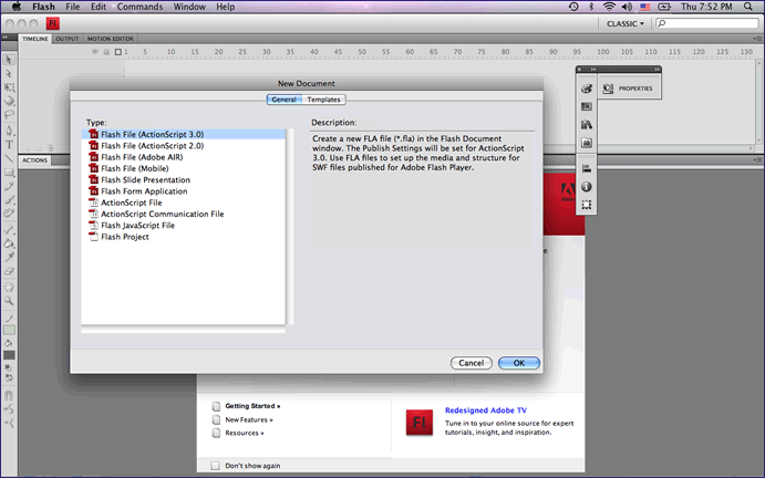 ActionScript 3.0 New Document Flash CS4 Screenshot