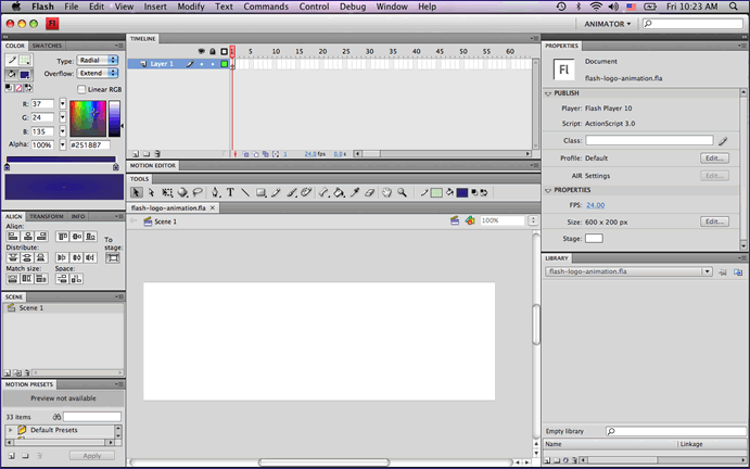 Screenshot of the Animator Layout in Flash CS4