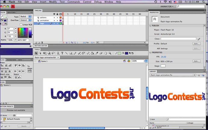 Screenshot of the logo design on the Flash CS4 stage.
